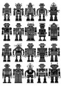Vintage Tin Toy Robot Collection — Vector de stock