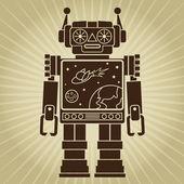 Vintage Retro Video Robot Character — Vector de stock