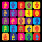 Vintage Tin Toy Robot Icons — Stock Vector