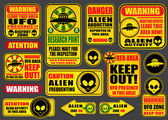 Warning UFO Aliens Signs Collection — Stock Vector
