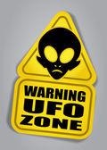 Warning UFO ZONE sign — Vettoriale Stock