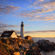 Morning At The Portland Headlight, Portland Maine - 图库照片