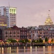 Waterfront Savannah Historic District at night - Stock Photo
