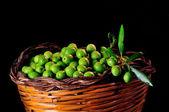 Basket of Sicilian olives — Stock Photo