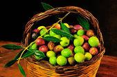 Basket of olives — Stock Photo
