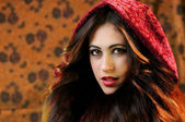 Brunette girl Little Red Riding Hood — Stock Photo