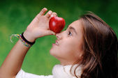 Playing with an apple — Stock Photo