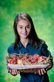 Little girl and basket of apples — Stock Photo