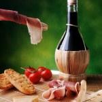 Red wine ham and cheese — Stock Photo #37407249