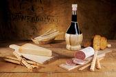 Cheese salami and wine — Stock Photo