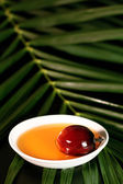 Oil palm fruit and cooking oil — Foto de Stock