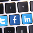 Facebook Twitter and Linkedin keyboard — Stock Photo #31428203