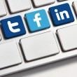 Facebook Twitter and Linkedin keyboard — Stock Photo