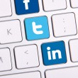 Facebook Twitter and Linkedin keyboard — Stock Photo #34146453