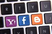 Facebook Yahoo and Blogger keyboard — Stock Photo
