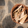 Basket with wood planks — Stock Photo #13762277