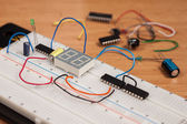 Testing electrical circuit on breadboard — Stock Photo