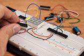 Testing electrical circuit on breadboard — Stock Photo
