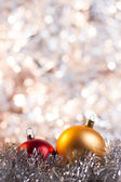 Christmas ball on abstract light background — Stock Photo