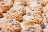 Finished Czech homemade crispy sweet scones buns with sugar — Stock Photo