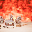 Christmas gingerbread with red blurred background — Stock fotografie