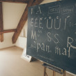 Stock Photo: Typography lesson with blackboard with handwritten chalk letters