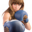 Boxing female punching - Stock Photo