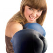 Boxing female punching — Stock Photo