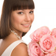 Portrait with the roses — Stock Photo