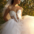 Classical fashion bride in park — Stock Photo