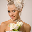 Foto Stock: Bride with bouquet
