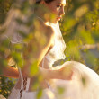 Stock Photo: Classical fashion bride in park