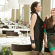Стоковое фото: Two young woman in the fancy place