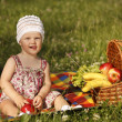 Little 1 year old girl on the picnic in park — Stock Photo