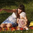Having fun on picnic — Stock Photo