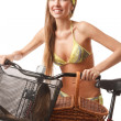 Royalty-Free Stock Photo: Young happy woman on bicycle