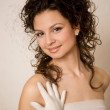Bride with the curly hair — Stock Photo