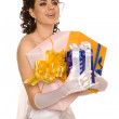 Bride with presents — Stock Photo