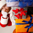Santa swamp with presents — Stock Photo