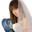 Boxing bride. - Stock Photo