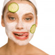 Cucumber mask — Stock Photo