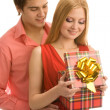Opening a gift box — Stock Photo