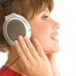 Girl with headphones is singing — Stock Photo