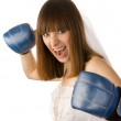 Punching bride. — Stock Photo