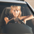 Sad driver girl — Stockfoto
