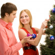 Decorating the Tree — Stock Photo