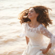 Happy running bride — Stock Photo