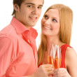 Happy couple with champagne — Stock Photo