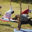 yoga practicing outdoors — Stock Photo #14177609