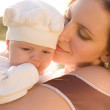 Stock Photo: Mother and baby in the country